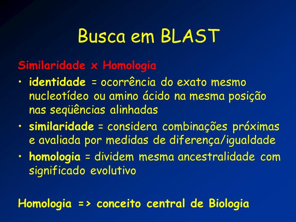Busca em BLAST Similaridade x Homologia