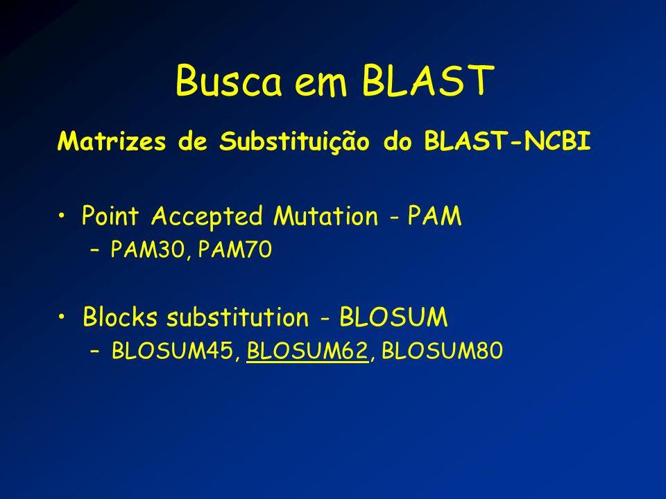 Busca em BLAST Matrizes de Substituição do BLAST-NCBI