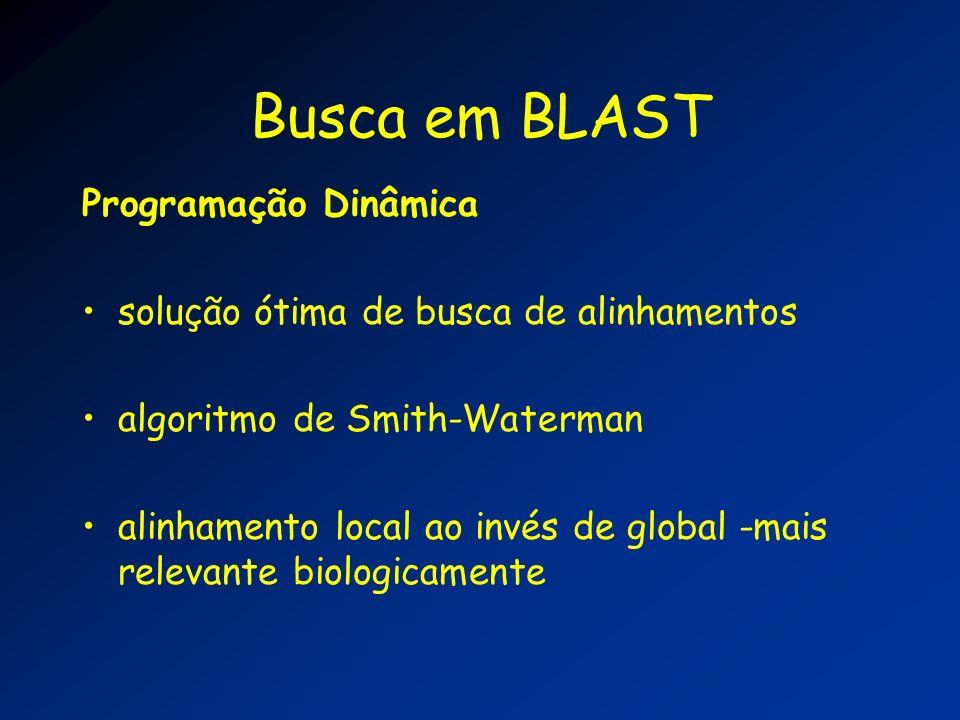 Busca em BLAST Programação Dinâmica