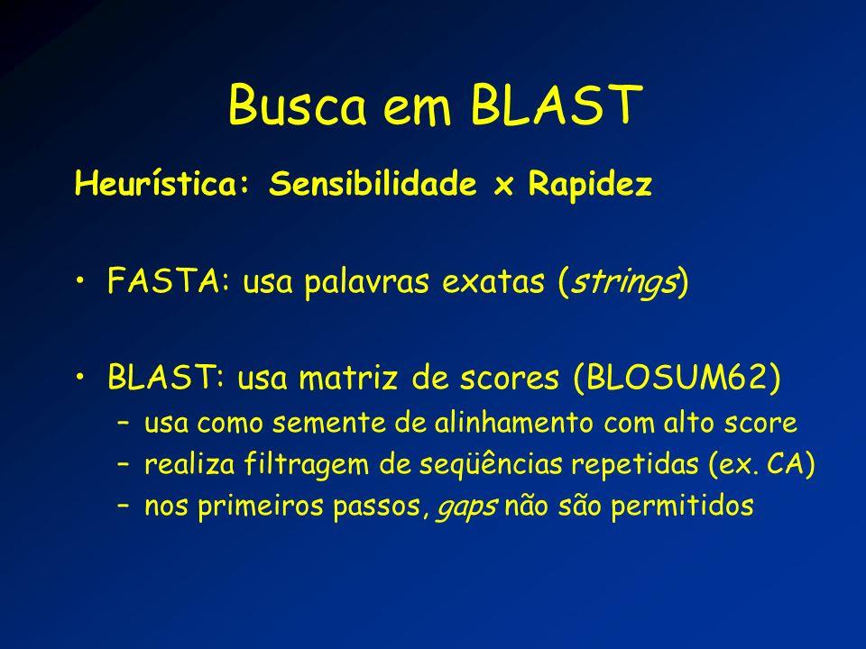 Busca em BLAST Heurística: Sensibilidade x Rapidez