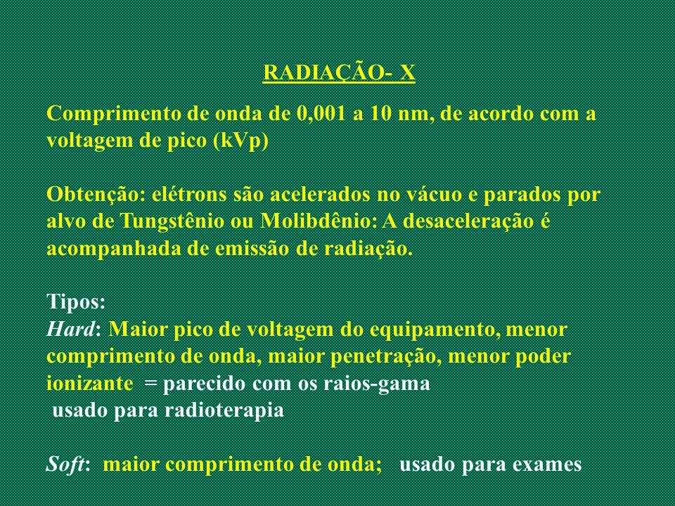 RADIAÇÃO- X Comprimento de onda de 0,001 a 10 nm, de acordo com a voltagem de pico (kVp)