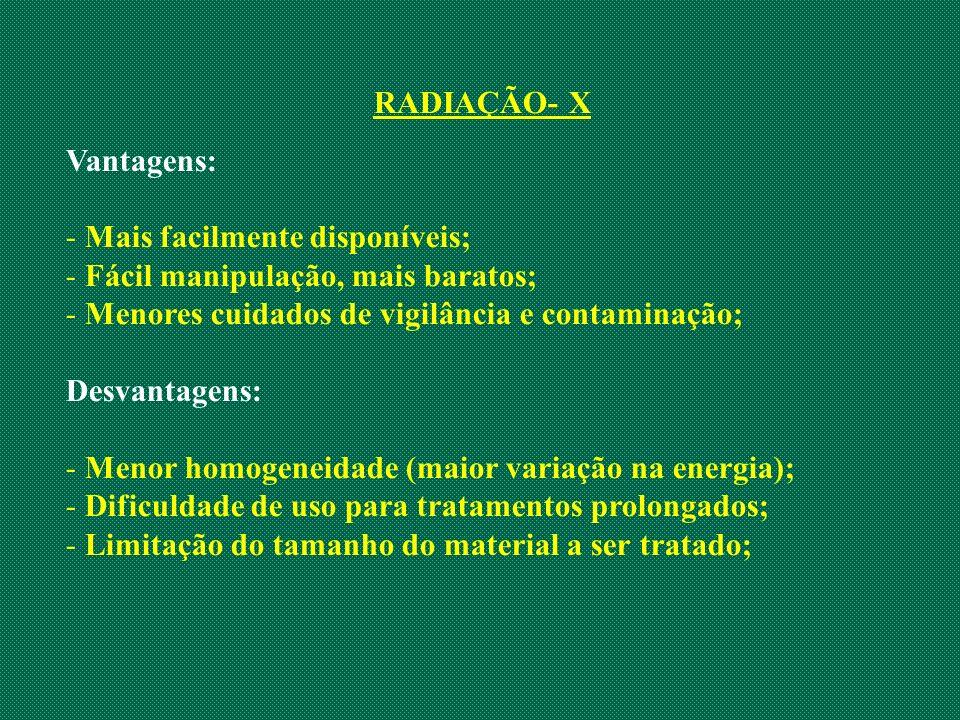 RADIAÇÃO- X Vantagens: Mais facilmente disponíveis; Fácil manipulação, mais baratos; Menores cuidados de vigilância e contaminação;