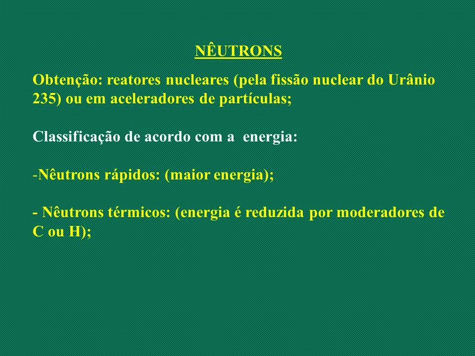 NÊUTRONS Obtenção: reatores nucleares (pela fissão nuclear do Urânio 235) ou em aceleradores de partículas;