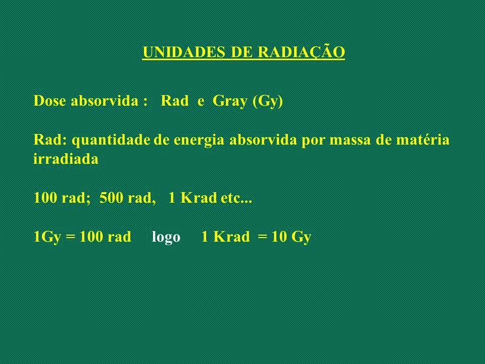 UNIDADES DE RADIAÇÃO Dose absorvida : Rad e Gray (Gy) Rad: quantidade de energia absorvida por massa de matéria irradiada.
