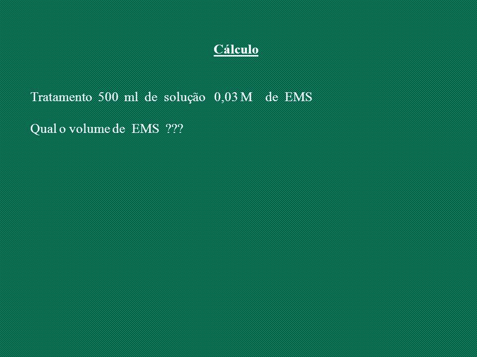 Cálculo Tratamento 500 ml de solução 0,03 M de EMS Qual o volume de EMS