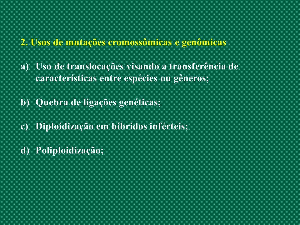 2. Usos de mutações cromossômicas e genômicas
