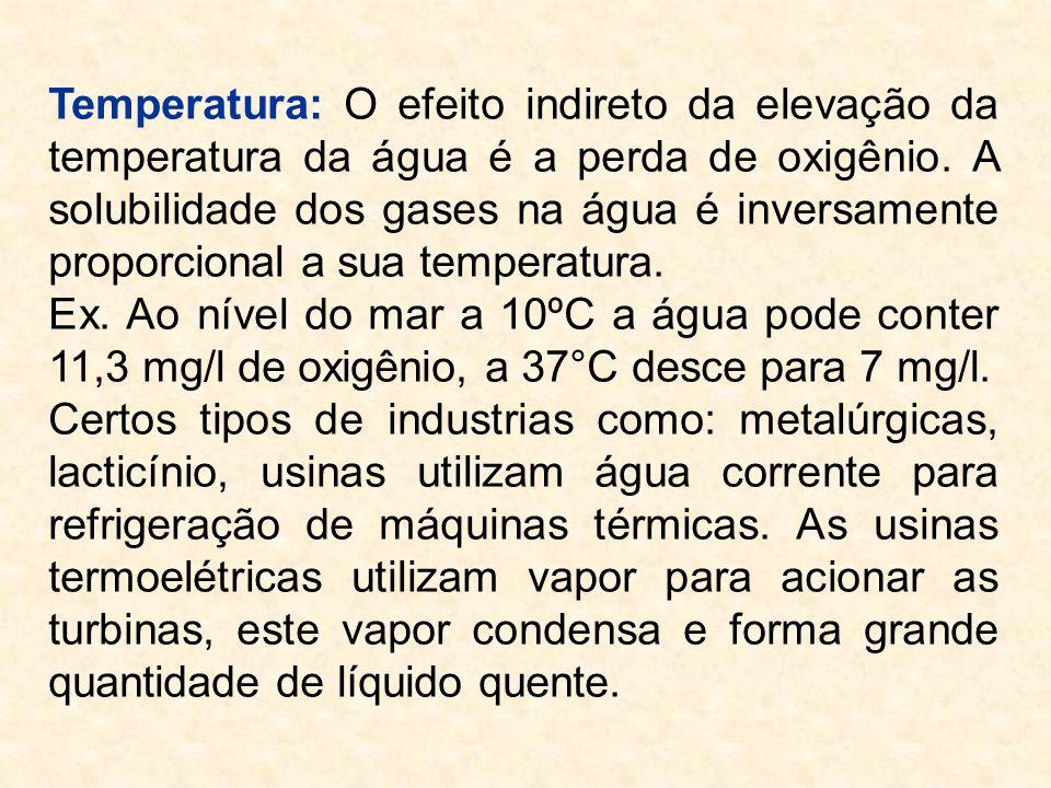 Temperatura: O efeito indireto da elevação da temperatura da água é a perda de oxigênio. A solubilidade dos gases na água é inversamente proporcional a sua temperatura.