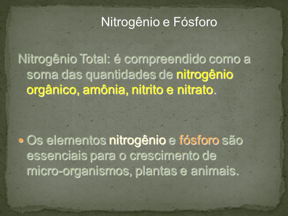 Nitrogênio e Fósforo Nitrogênio Total: é compreendido como a soma das quantidades de nitrogênio orgânico, amônia, nitrito e nitrato.