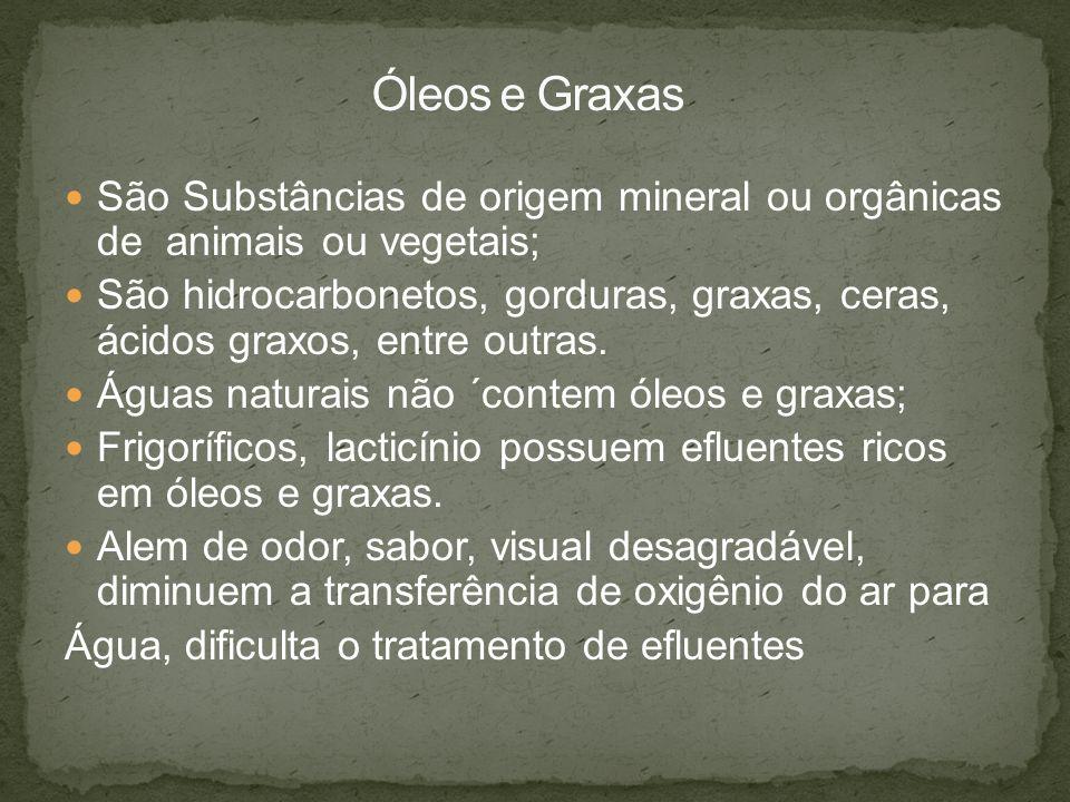 Óleos e Graxas São Substâncias de origem mineral ou orgânicas de animais ou vegetais;
