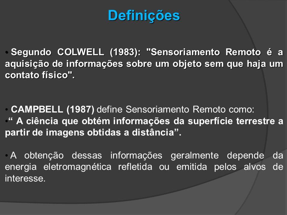 Definições Segundo COLWELL (1983): Sensoriamento Remoto é a aquisição de informações sobre um objeto sem que haja um contato físico .