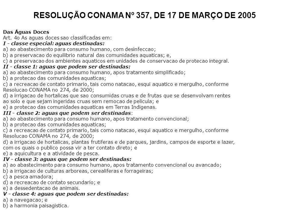 RESOLUÇÃO CONAMA Nº 357, DE 17 DE MARÇO DE 2005