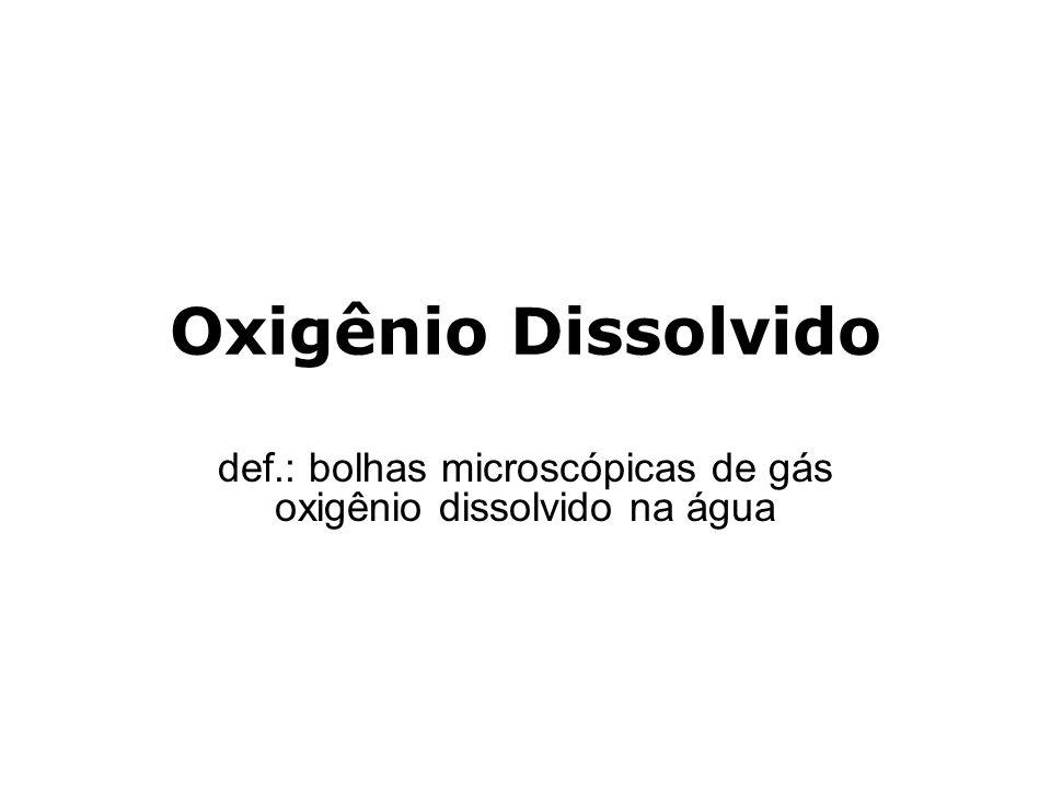 def.: bolhas microscópicas de gás oxigênio dissolvido na água