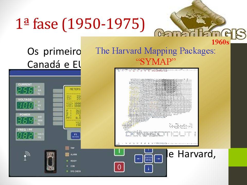 1ª fase (1950-1975) Os primeiros SIGs surgem, sobretudo no Canadá e EUA. Os principais avanços vêm de iniciativa privada (Universidades)