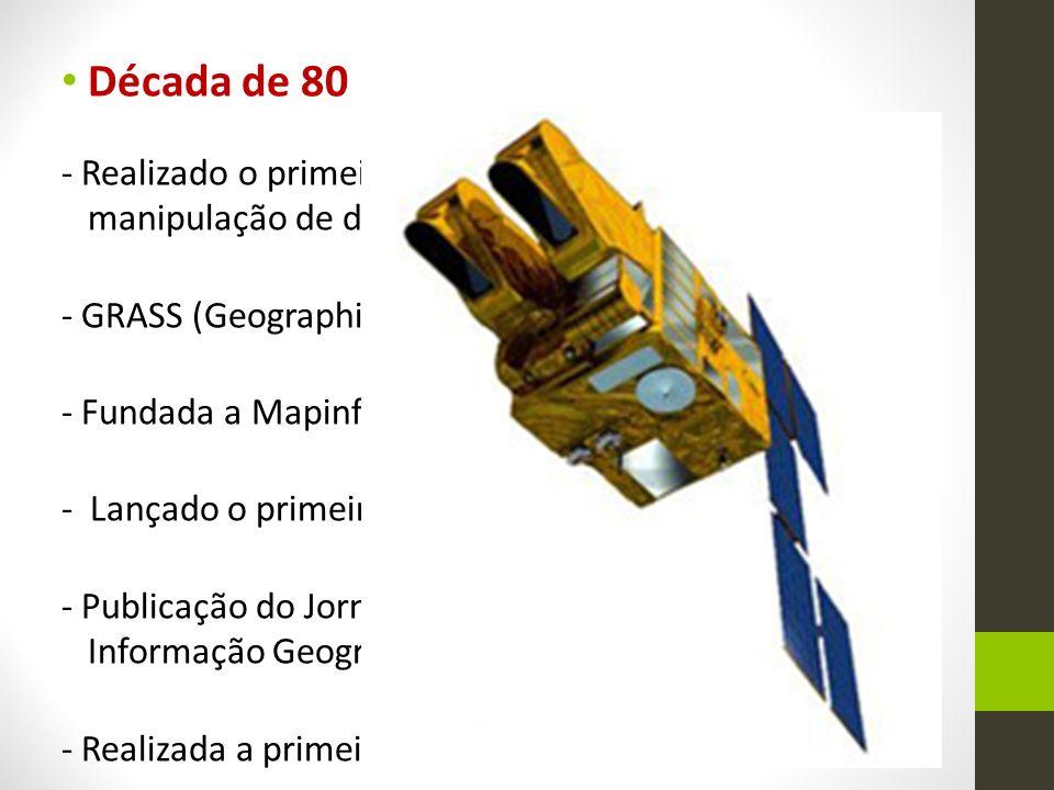 Década de 80 - Realizado o primeiro simpósio internacional de manipulação de dados espaciais; - GRASS (Geographic Resources Analysis Support System)