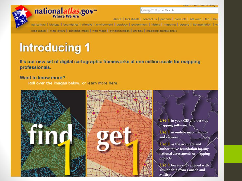 Século XX – Atual - Programa GINIE (Geographic Information Network In Europe); - Lançamento online do National Atlas of the United States;