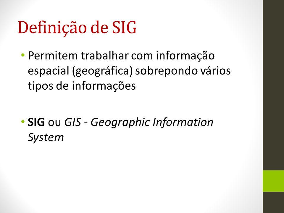 Definição de SIG Permitem trabalhar com informação espacial (geográfica) sobrepondo vários tipos de informações.