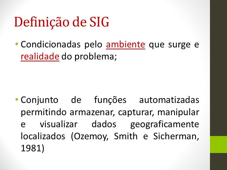 Definição de SIG Condicionadas pelo ambiente que surge e realidade do problema;