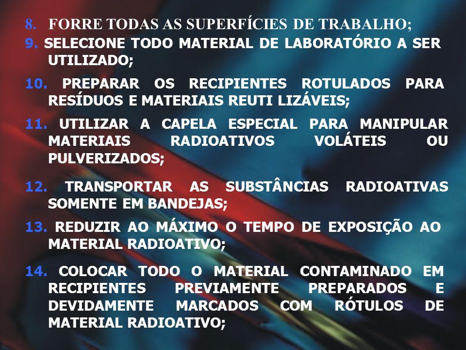 FORRE TODAS AS SUPERFÍCIES DE TRABALHO;
