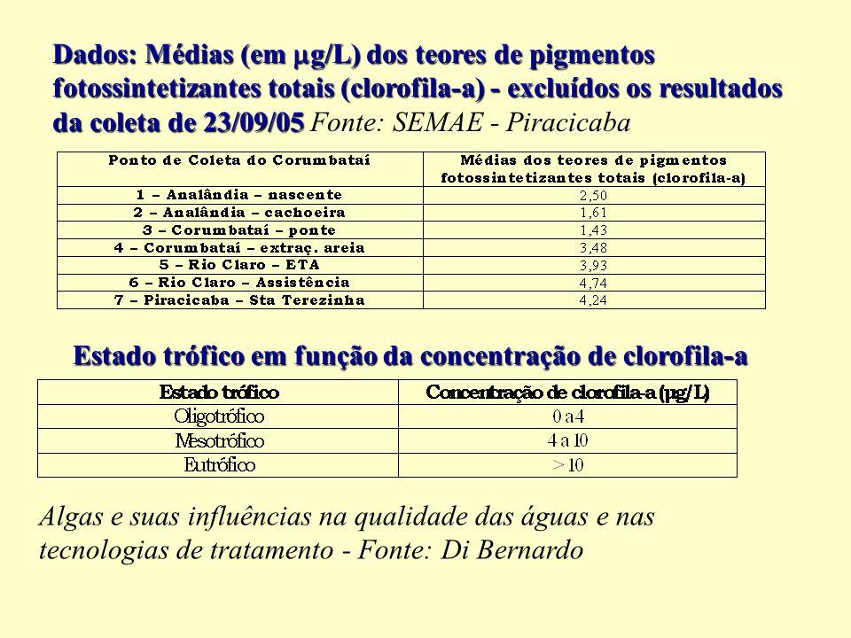 Dados: Médias (em g/L) dos teores de pigmentos fotossintetizantes totais (clorofila-a) - excluídos os resultados da coleta de 23/09/05 Fonte: SEMAE - Piracicaba