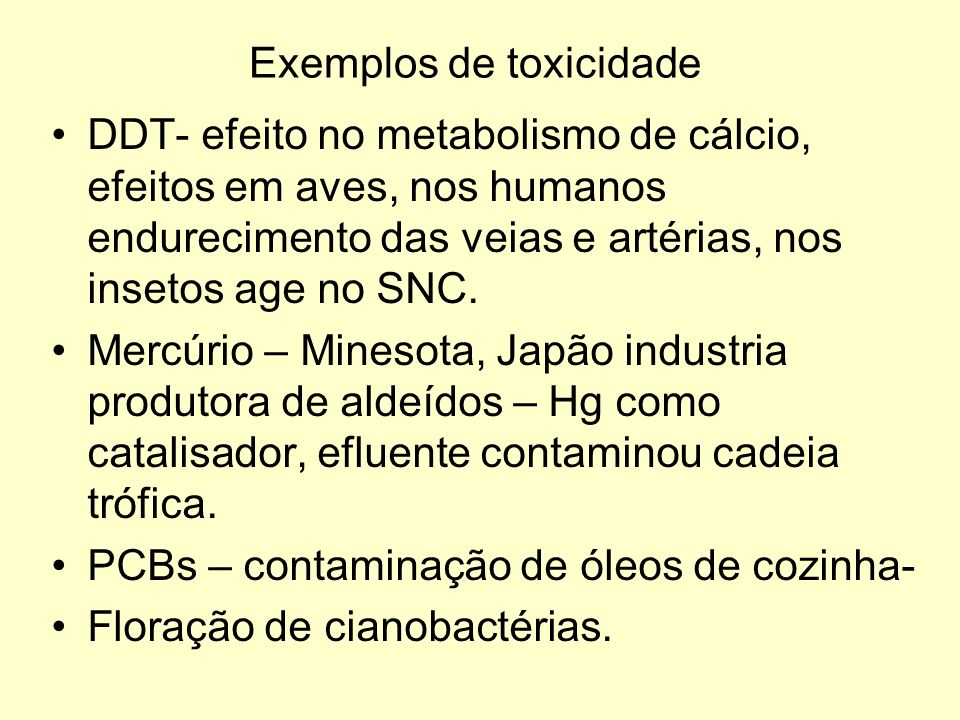Exemplos de toxicidade