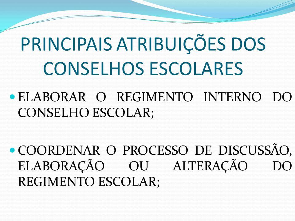PRINCIPAIS ATRIBUIÇÕES DOS CONSELHOS ESCOLARES