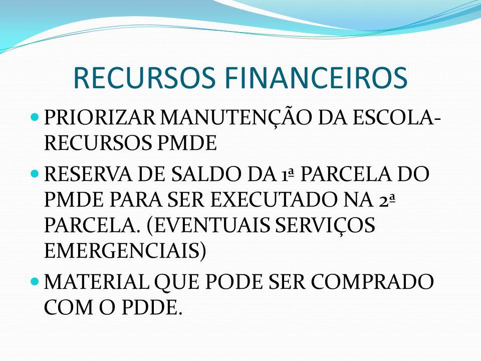 RECURSOS FINANCEIROS PRIORIZAR MANUTENÇÃO DA ESCOLA- RECURSOS PMDE
