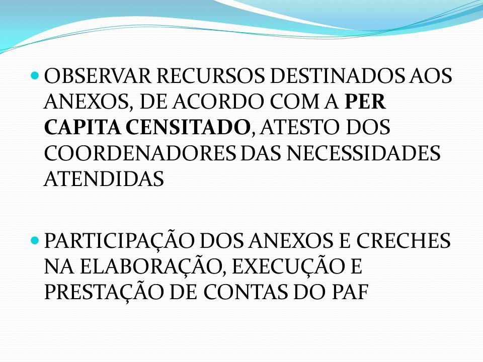 OBSERVAR RECURSOS DESTINADOS AOS ANEXOS, DE ACORDO COM A PER CAPITA CENSITADO, ATESTO DOS COORDENADORES DAS NECESSIDADES ATENDIDAS