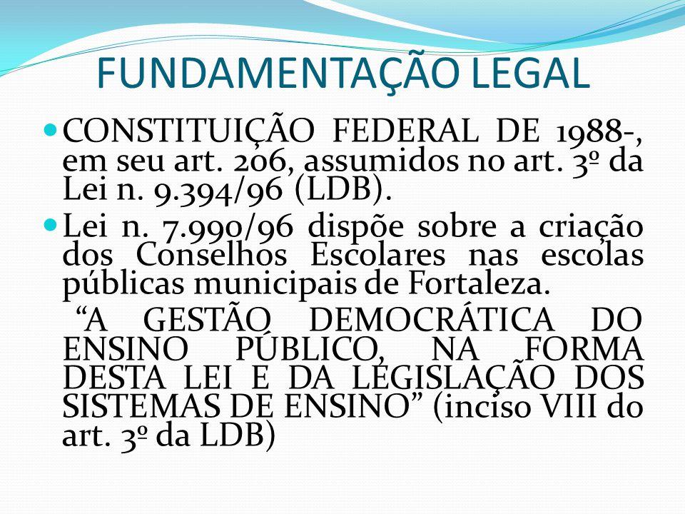 FUNDAMENTAÇÃO LEGAL CONSTITUIÇÃO FEDERAL DE 1988-, em seu art. 206, assumidos no art. 3º da Lei n. 9.394/96 (LDB).