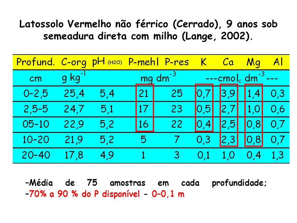 Latossolo Vermelho não férrico (Cerrado), 9 anos sob semeadura direta com milho (Lange, 2002).