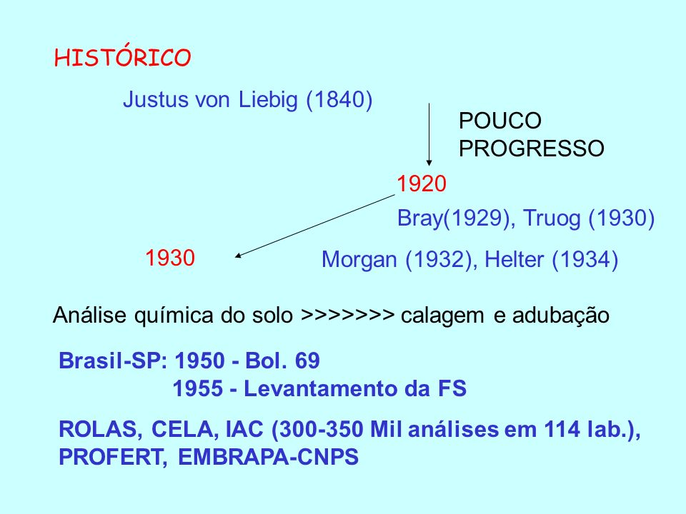 HISTÓRICO Justus von Liebig (1840) POUCO PROGRESSO. 1920. Bray(1929), Truog (1930) Morgan (1932), Helter (1934)