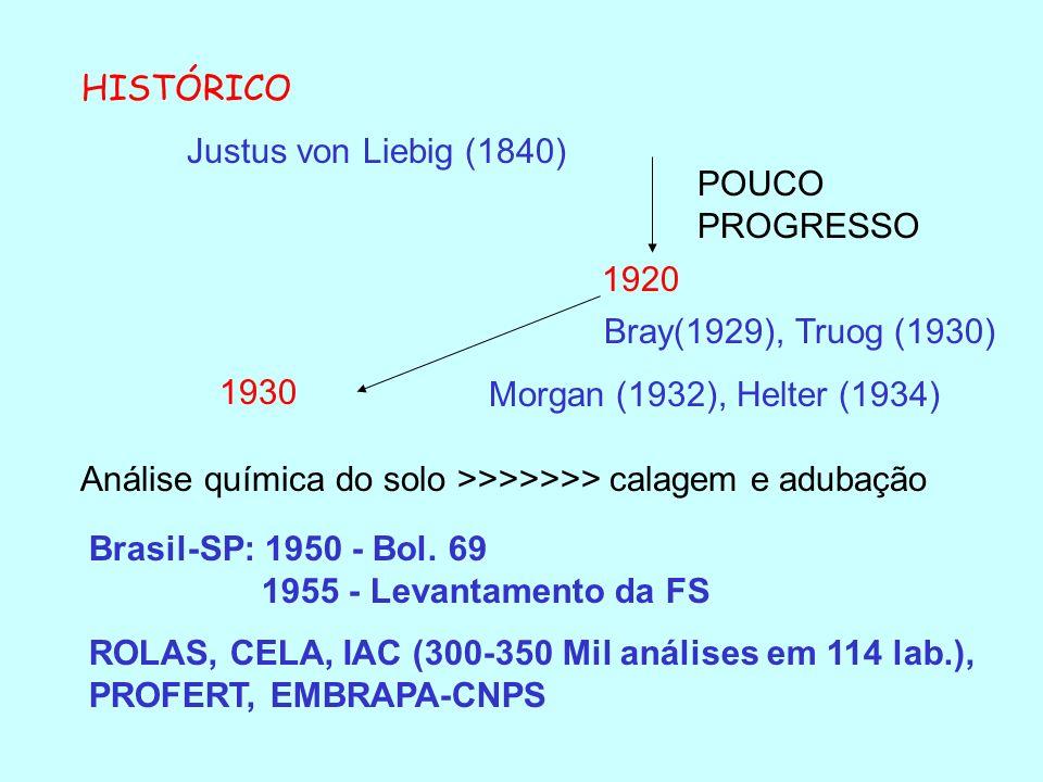 HISTÓRICOJustus von Liebig (1840) POUCO PROGRESSO. 1920. Bray(1929), Truog (1930) Morgan (1932), Helter (1934)