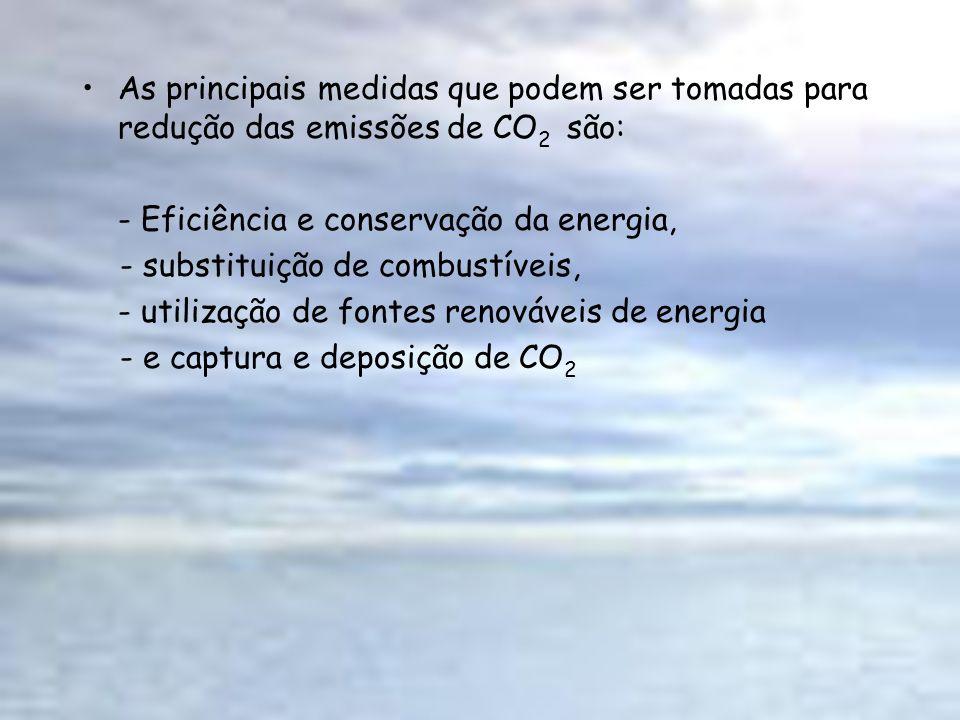 As principais medidas que podem ser tomadas para redução das emissões de CO2 são: