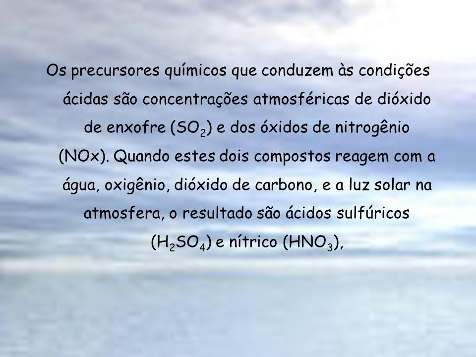 Os precursores químicos que conduzem às condições ácidas são concentrações atmosféricas de dióxido de enxofre (SO2) e dos óxidos de nitrogênio (NOx).