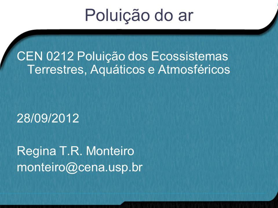 Poluição do ar CEN 0212 Poluição dos Ecossistemas Terrestres, Aquáticos e Atmosféricos. 28/09/2012.