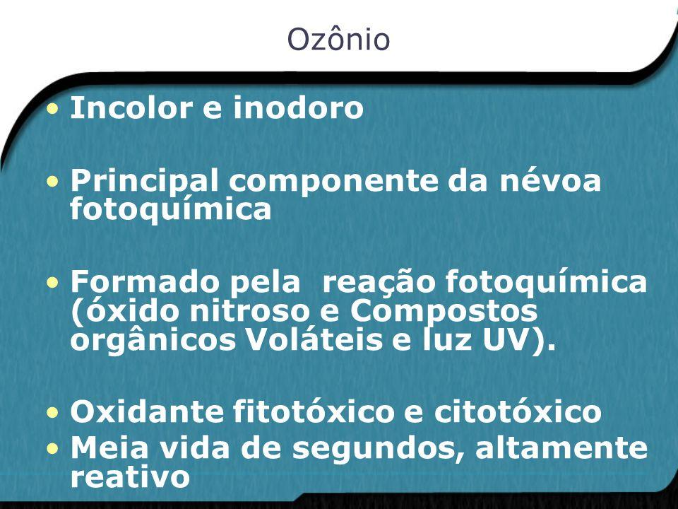 Ozônio Incolor e inodoro. Principal componente da névoa fotoquímica.