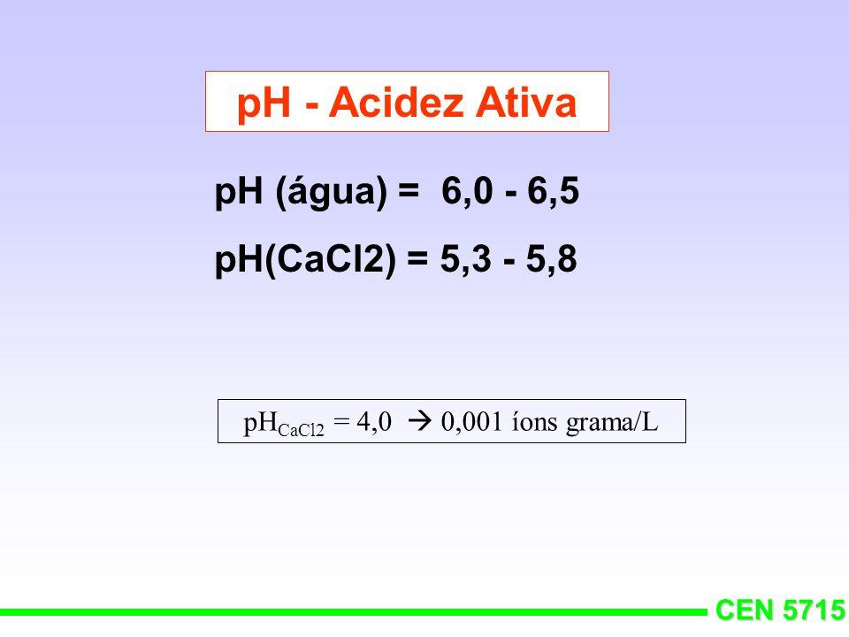 pH - Acidez Ativa pH (água) = 6,0 - 6,5 pH(CaCl2) = 5,3 - 5,8