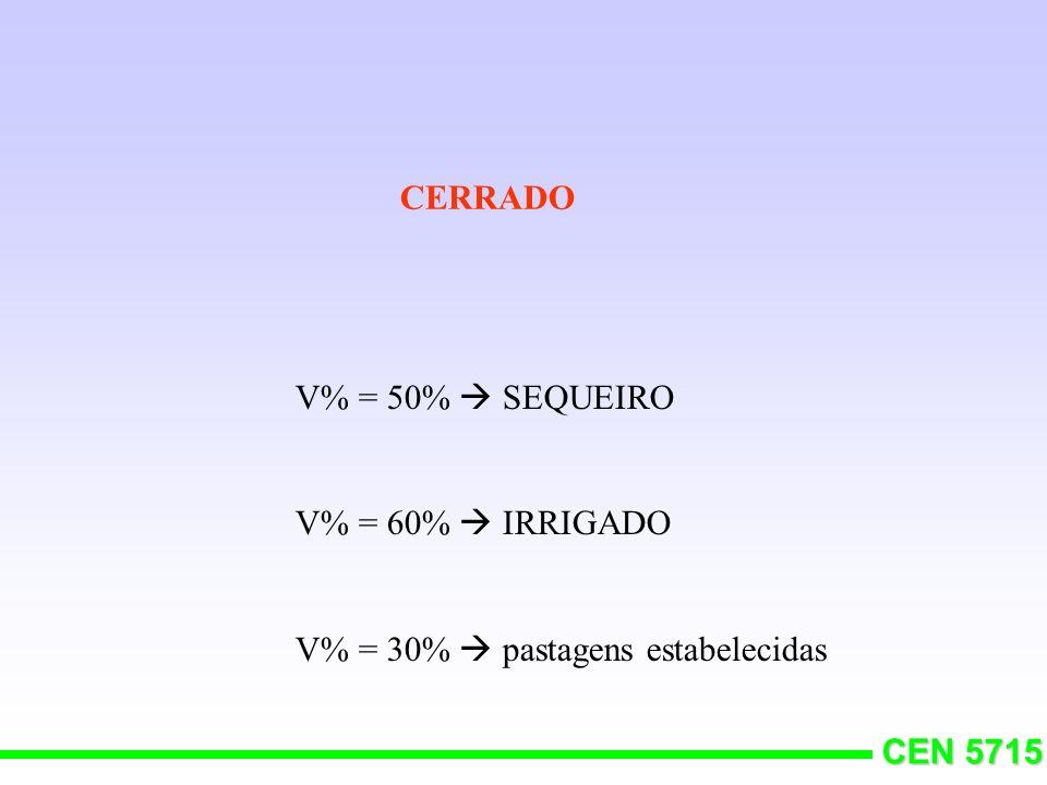 CERRADO V% = 50%  SEQUEIRO V% = 60%  IRRIGADO V% = 30%  pastagens estabelecidas