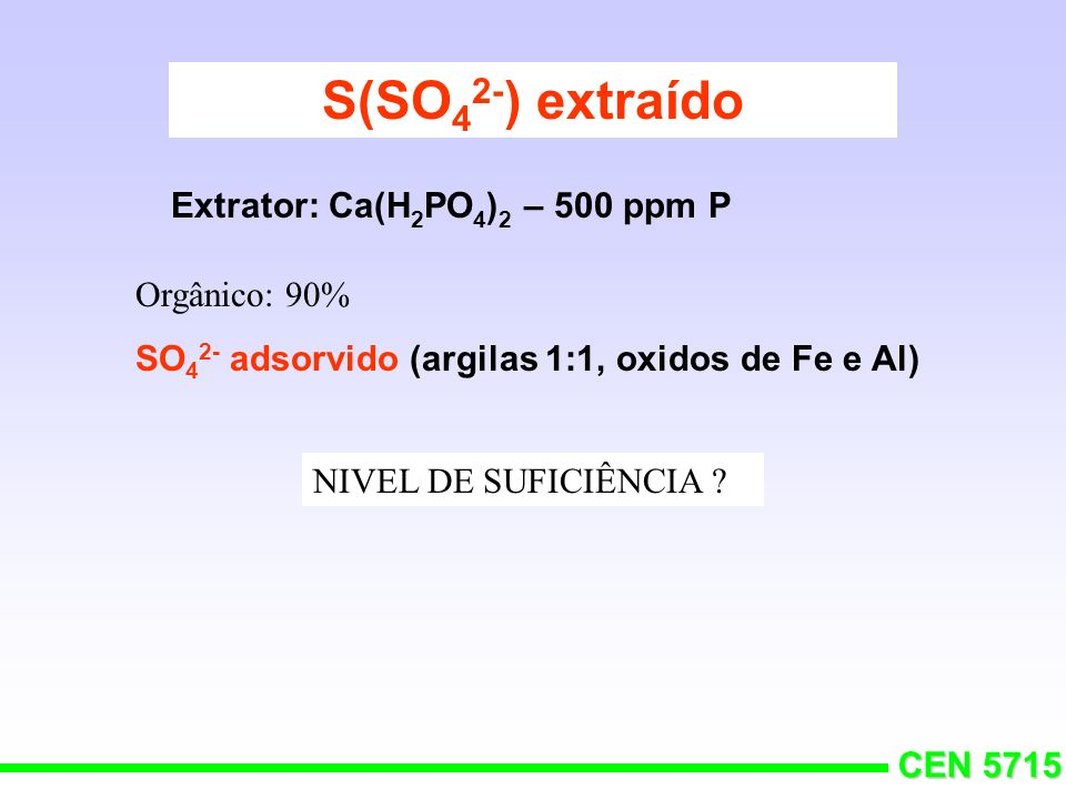 S(SO42-) extraído Extrator: Ca(H2PO4)2 – 500 ppm P Orgânico: 90%