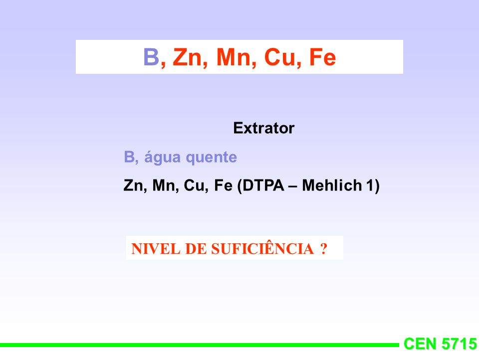 B, Zn, Mn, Cu, Fe Extrator B, água quente