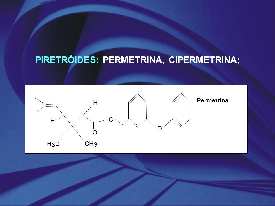PIRETRÓIDES: PERMETRINA, CIPERMETRINA;
