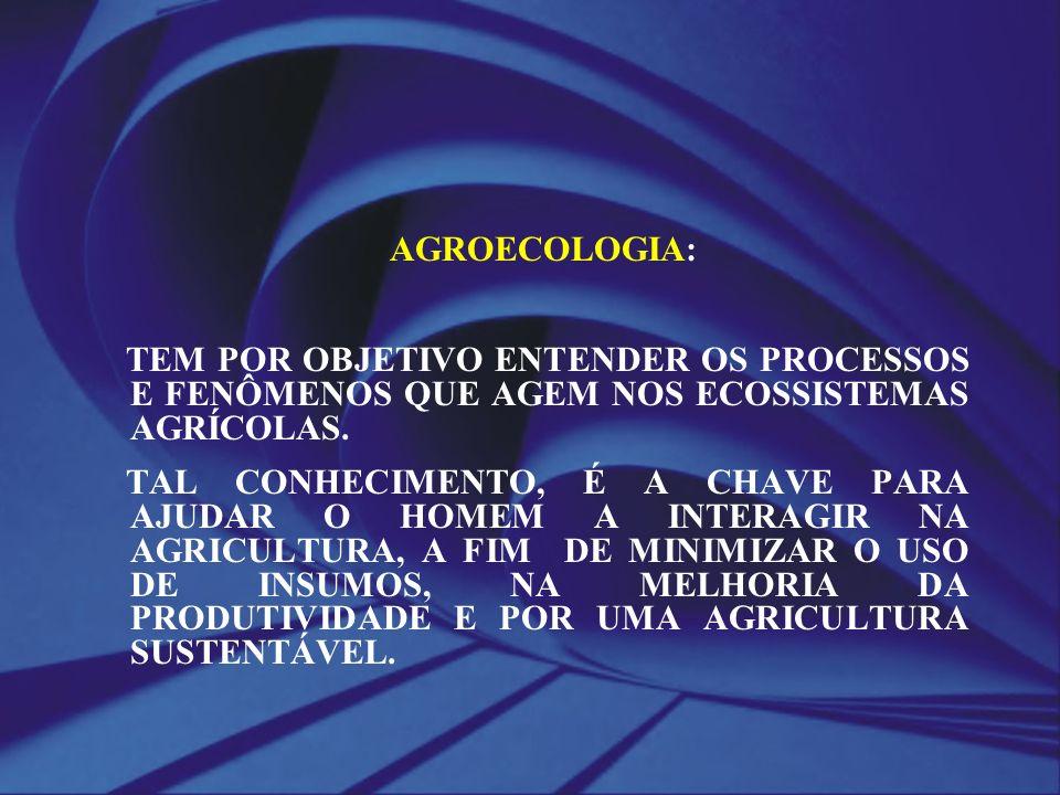 AGROECOLOGIA: TEM POR OBJETIVO ENTENDER OS PROCESSOS E FENÔMENOS QUE AGEM NOS ECOSSISTEMAS AGRÍCOLAS.