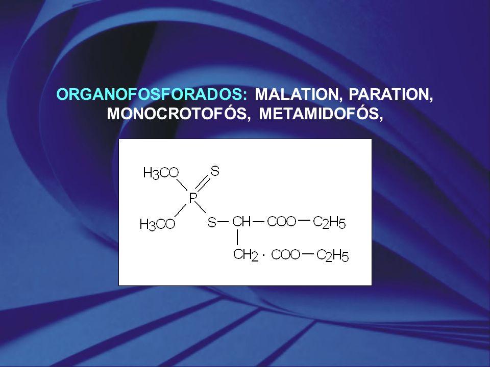 ORGANOFOSFORADOS: MALATION, PARATION, MONOCROTOFÓS, METAMIDOFÓS,