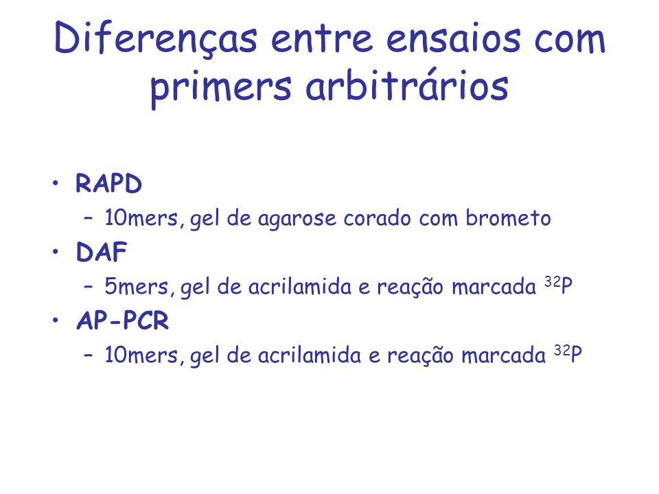 Diferenças entre ensaios com primers arbitrários