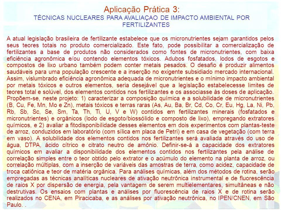 Aplicação Prática 3: TÉCNICAS NUCLEARES PARA AVALIAÇAO DE IMPACTO AMBIENTAL POR FERTILIZANTES.