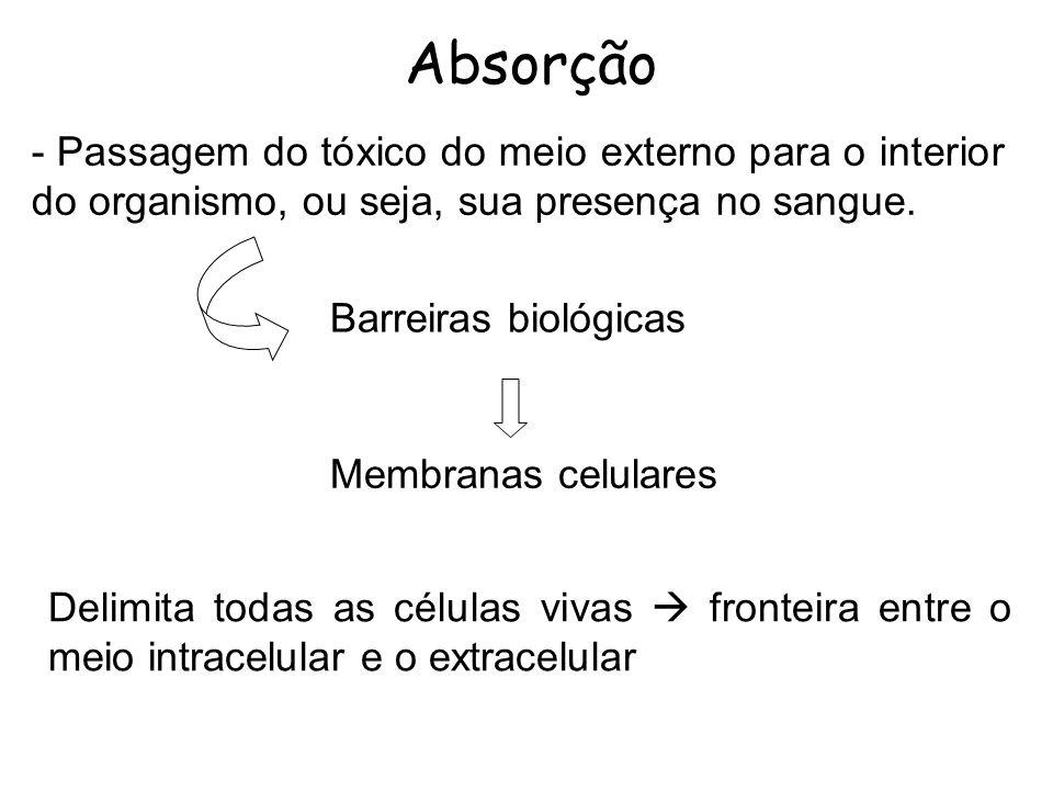 Absorção - Passagem do tóxico do meio externo para o interior do organismo, ou seja, sua presença no sangue.