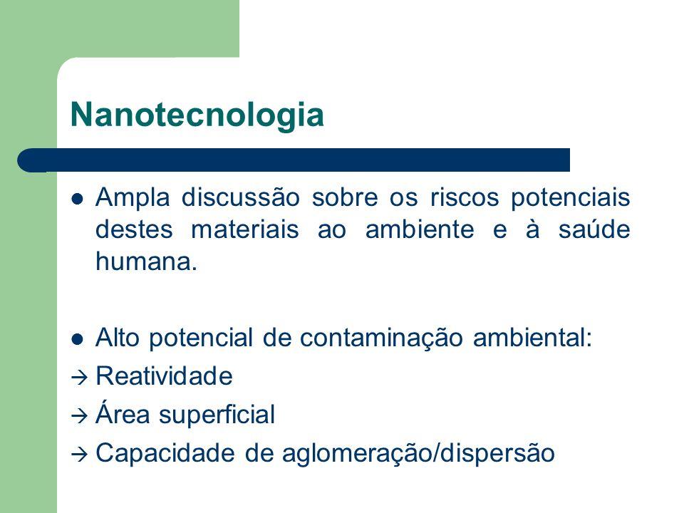 Nanotecnologia Ampla discussão sobre os riscos potenciais destes materiais ao ambiente e à saúde humana.