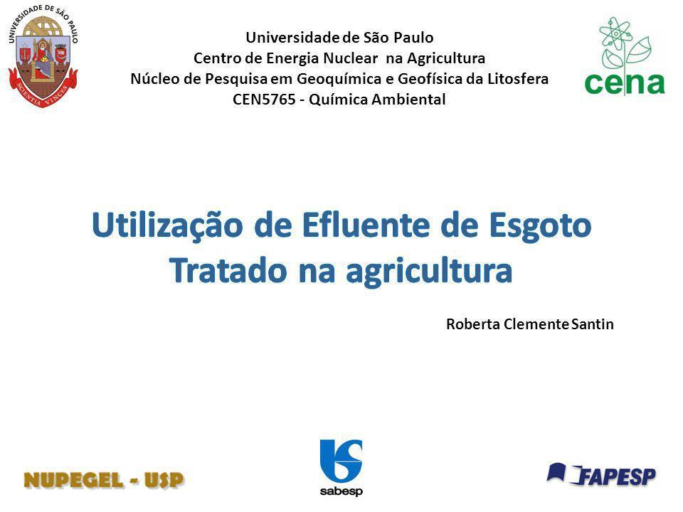 Utilização de Efluente de Esgoto Tratado na agricultura