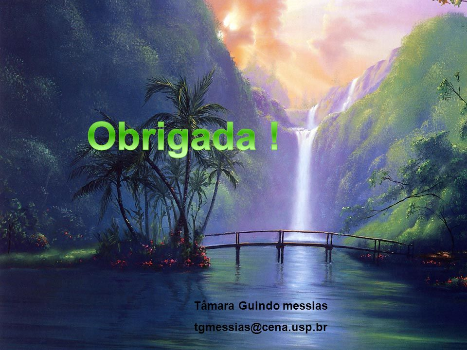 Obrigada ! Tâmara Guindo messias tgmessias@cena.usp.br
