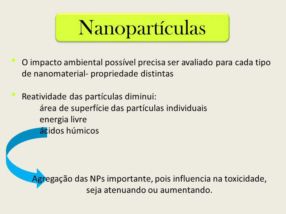 NanopartículasO impacto ambiental possível precisa ser avaliado para cada tipo de nanomaterial- propriedade distintas.