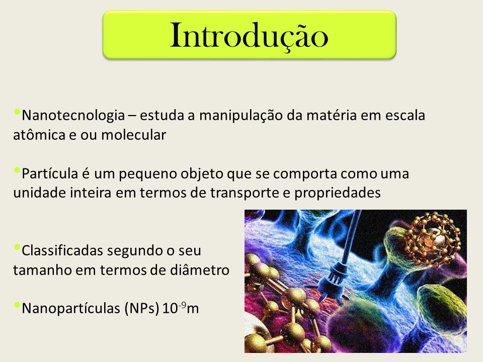 Introdução Nanotecnologia – estuda a manipulação da matéria em escala atômica e ou molecular.